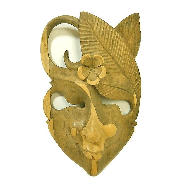 木彫りワルーのアートマスクお面 H [縦約27cm]ナチュラル アジアン 雑貨 バリ 雑貨 タイ 雑貨 アジアン インテリア