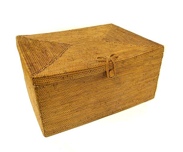 アタ 蓋付 ボックス LLサイズ ランドリー 収納 カゴ 長方形 [40x30x20cm] アジアン バリ タイ 雑貨 アジアン インテリア 送料無料