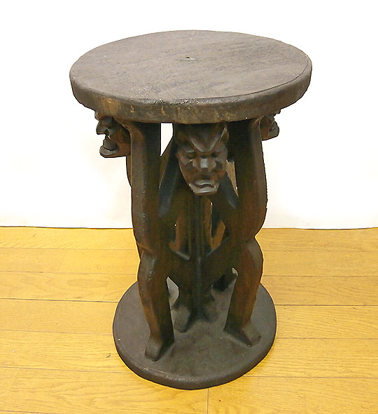 Bali Furniture Man Carved Wood Round Chair Mini Table C Hominid Four Chairs  [H.45cm] 05P01Nov14