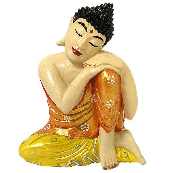 木彫りの仏陀 坐像 F [H.32cm] アジアン雑貨 バリ雑貨 おしゃれな 癒しの置物 仏像 フィギュア コレクション 送料無料