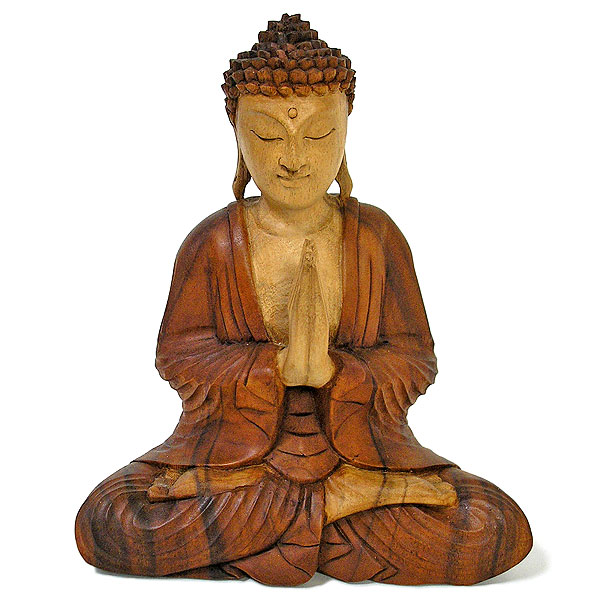木彫りの仏陀 坐像 H ナチュラル [H.31cm] アジアン雑貨 バリ雑貨 おしゃれな 癒しの置物 仏像 フィギュア コレクション 送料無料