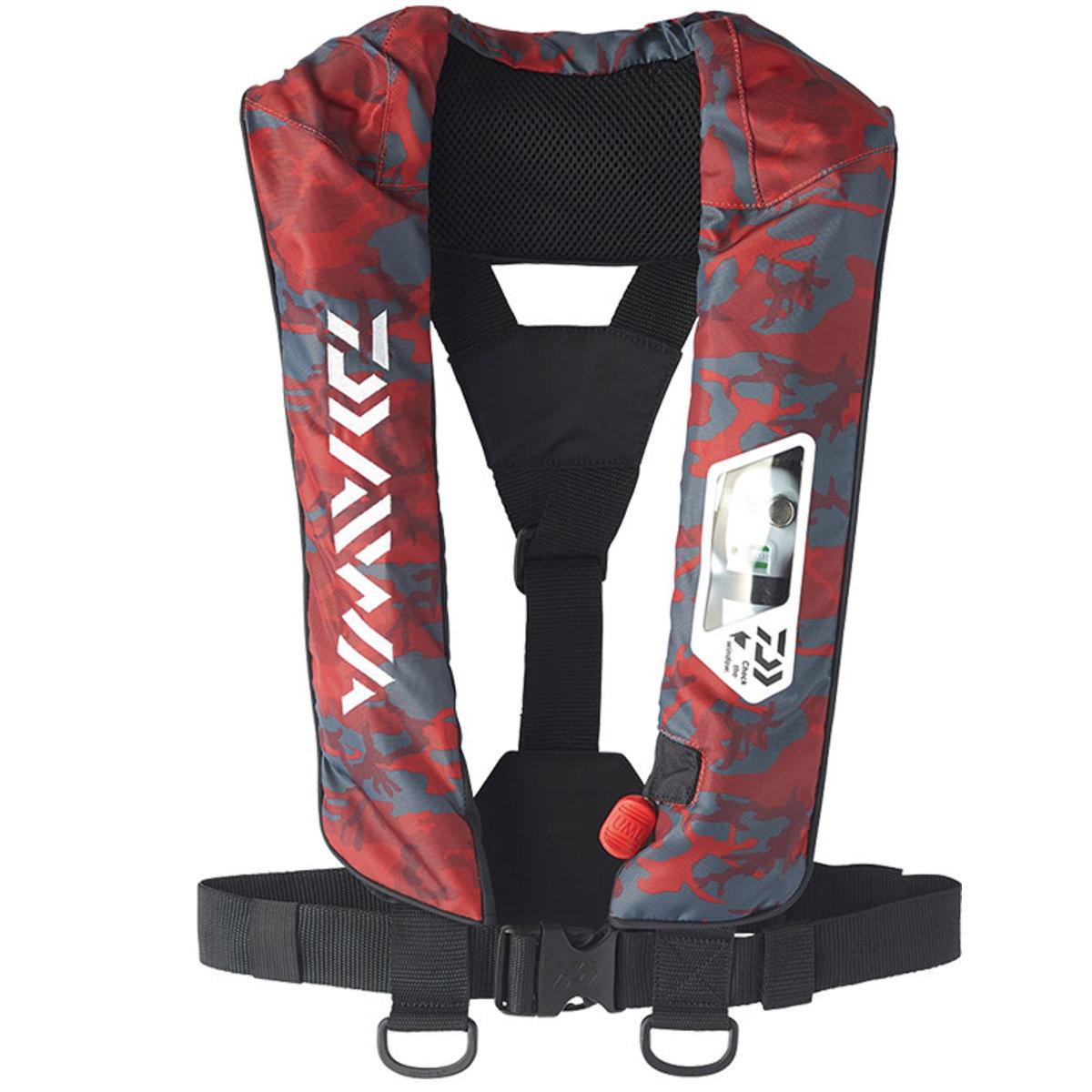 【送料無料5】ダイワ ウォッシャブルライフジャケット (肩掛けタイプ手動・自動膨脹式) DF-2007 レッドカモ フリー