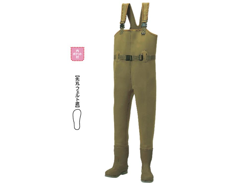 阪神素地 CW-455 カーキ 27cm チェストハイウェーダー[中割・フェルト底]