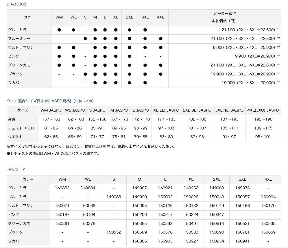 ダイワ(Daiwa)DR-33008 ブラック 3XL(レインマックス® レインスーツ)