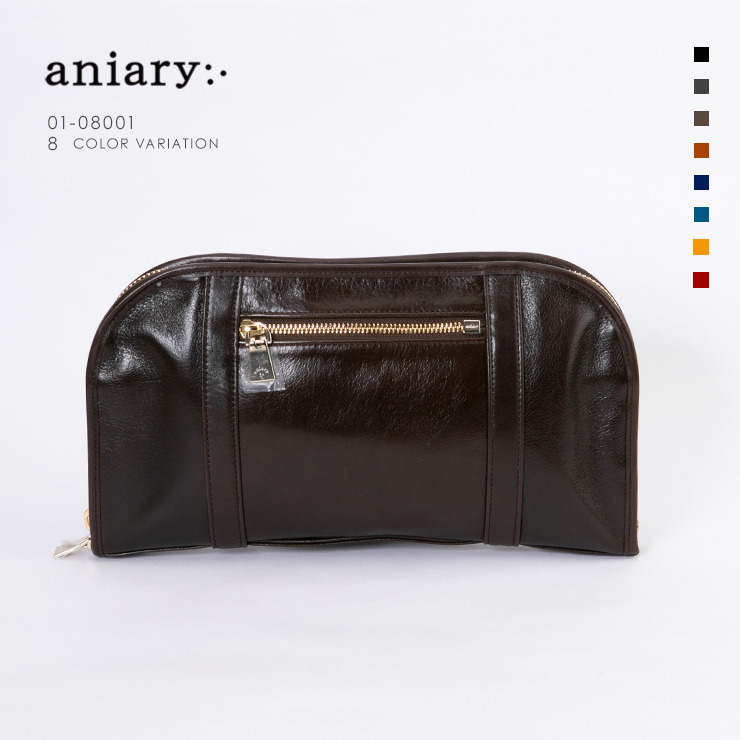 【aniary|アニアリ】Antique Leather アンティークレザー 牛革 Clutch クラッチバッグ 01-08001 [送料無料]