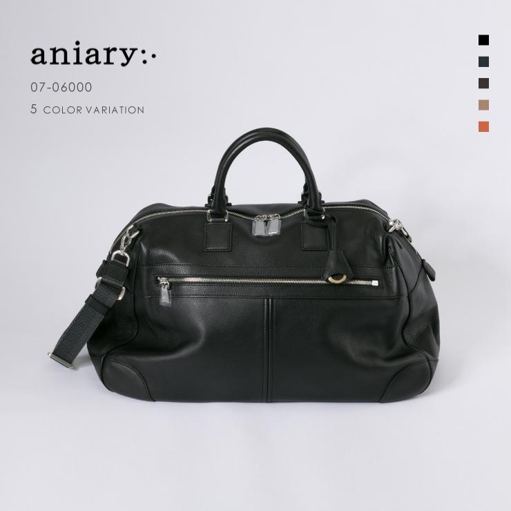 【aniary|アニアリ】Shrink Leather シュリンクレザー 牛革 Boston Bag ボストンバッグ 07-06000 [送料無料]