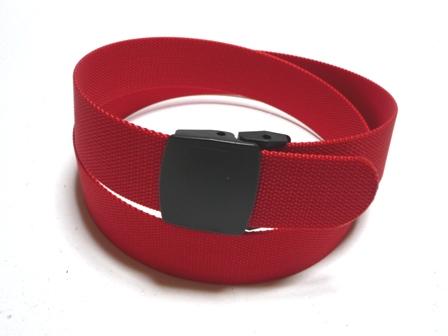 金属アレルギー!金属探知機対策!プラスチックバックルベルト! /レッド(赤) 40ミリナイロン プラスティックバックル(樹脂バックル)ベルト / 日本製 / フルサイズ対応 / 1本までメール便対応可 / あす楽対応