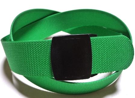 金属アレルギー!金属探知機対策!プラスチックバックルベルト! /ライトグリーン 40ミリナイロン プラスティックバックル(樹脂バックル)ベルト / 日本製 / フルサイズ対応 / 1本までメール便対応可 / あす楽対応