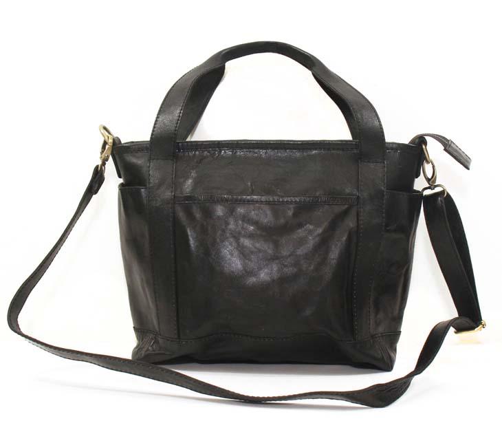 本革 トートバッグ TOTE BAG ショルダーバッグ SHOULDER BAG ビジネスバッグ col.Black ブラック 牛革 レディース・メンズ 1712006