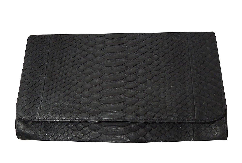 高級蛇革 パイソン本革 薄型 クラッチバッグ col.Black ブラックカラー お祝儀やパーティなどに 1504004