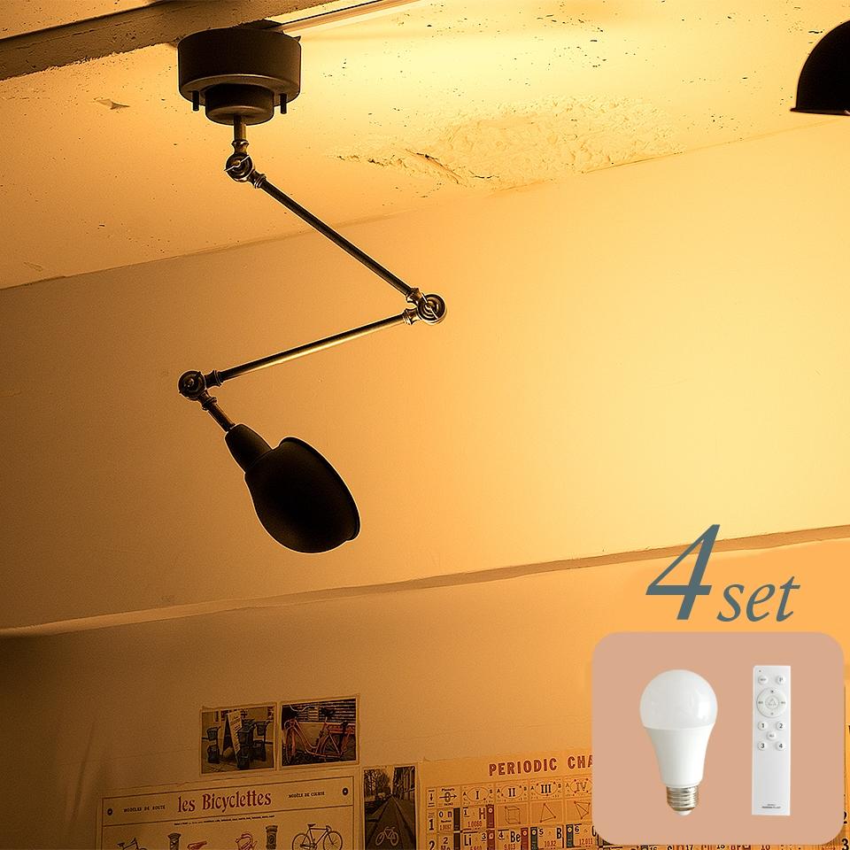 【4個セット シーリングライト リモコン/LED電球付 1灯 BIZLER(ビズラー) 引掛シーリング用 おしゃれ 照明 電気 ライト スポットライト 間接照明 西海岸 カリフォルニア 北欧 インダストリアル 男前 ブルックリン ダイニング 】
