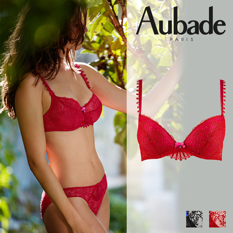 フランス【Aubade】オーバドゥIVRESSE BYZANTINEイヴレスビザンティンモールドパデッドブラ Rouge Rubis(レッド)カラー(HD08)ブラジャー