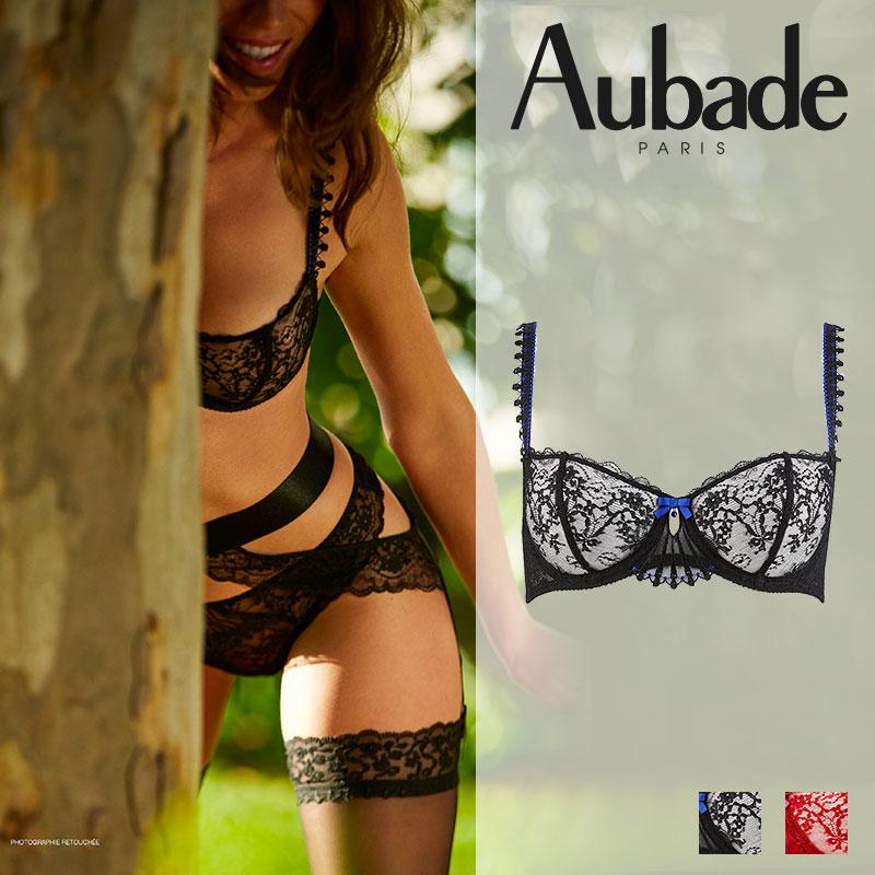 【50%オフ】フランス【Aubade】オーバドゥIVRESSE BYZANTINEイヴレスビザンティンハーフカップブラ BLACK DIAMANT(ブラック)カラー(HD14)ブラジャー