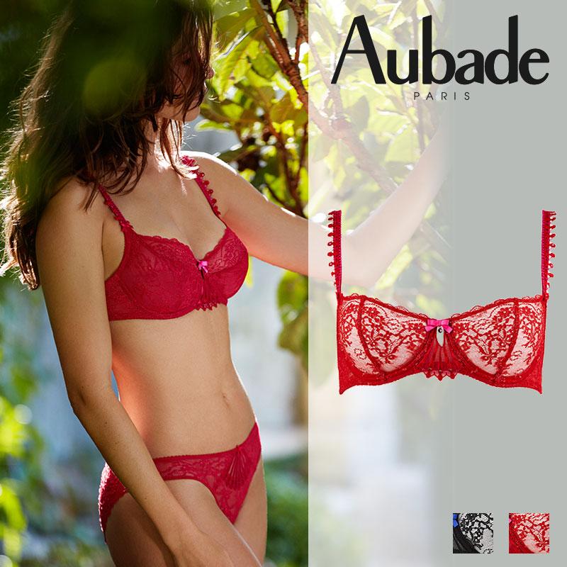 フランス【Aubade】オーバドゥIVRESSE BYZANTINEイヴレスビザンティンハーフカップブラRouge Robis(レッド)カラー(HD14)ブラジャー