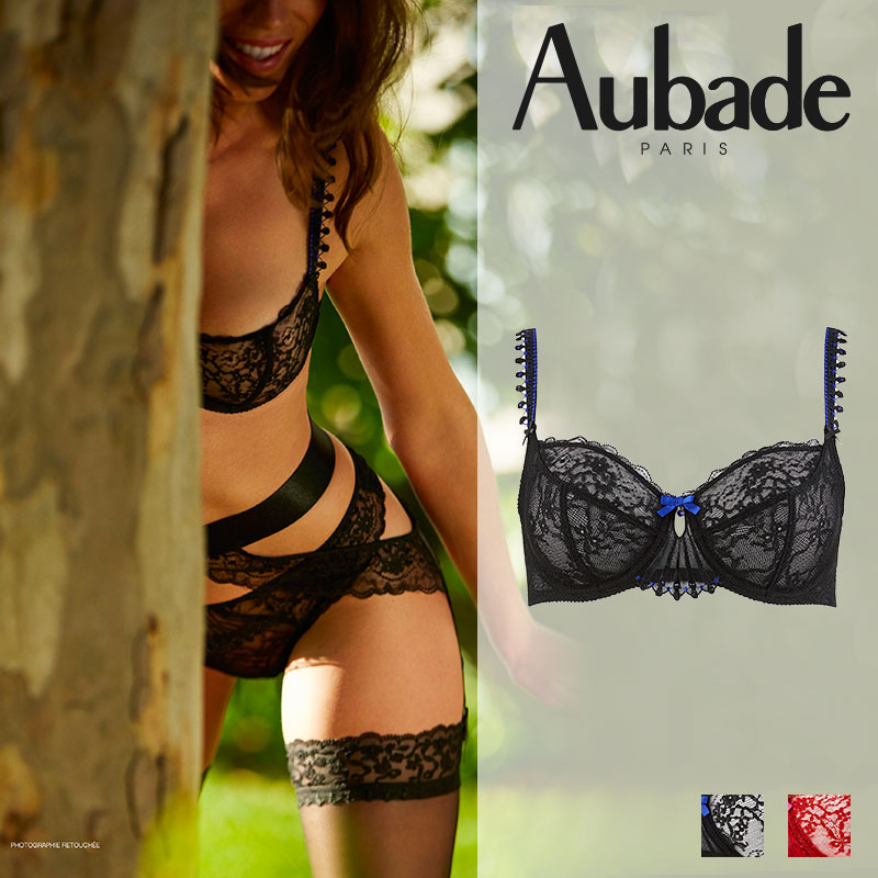【50%オフ】フランス【Aubade】オーバドゥIVRESSE BYZANTINEイヴレスビザンティン3/4カップブラ BLACK DIAMANT(ブラック)カラー(HD15)ブラジャー