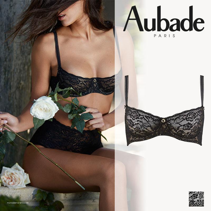 【Aubade】オーバドゥROSESSENCEローズエッセンスハーフカップブラEカップ Blackカラー(HK14)ブラジャー