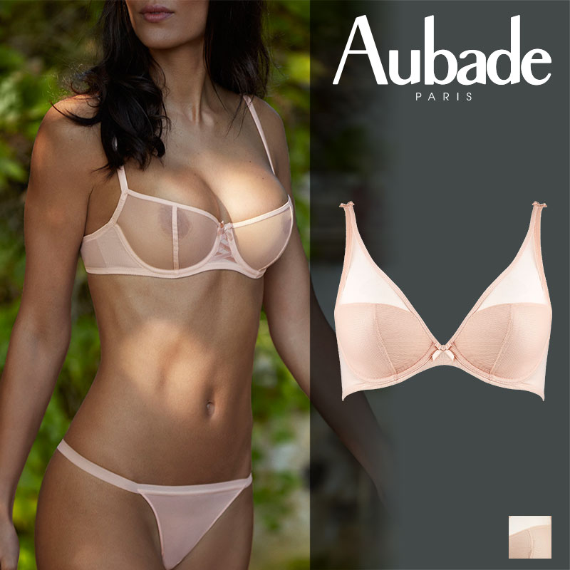 フランス【Aubade】オーバドゥNUDESSENCE(ヌードエッセンス)トライアングルプランジブラ Nude Eteカラー(FM12)