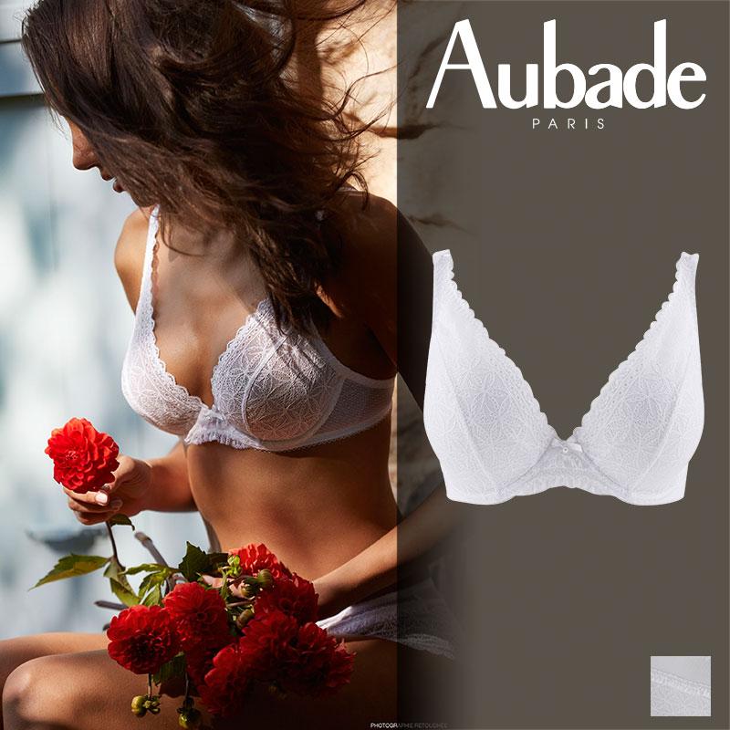 【30%オフ】フランス【Aubade】オーバドゥL'ODALISQUEロダリスクコンフォートトライアングルブラ ホワイトカラー(HG12-02)