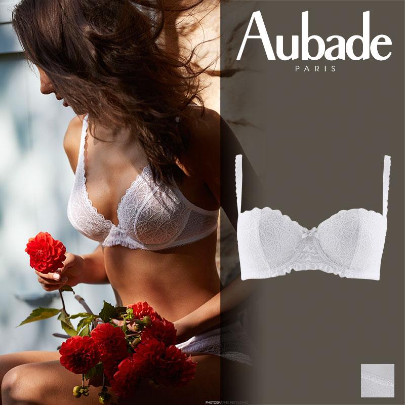 【30%オフ】フランス【Aubade】オーバドゥL'ODALISQUEロダリスクハーフカップブラ ホワイトカラー(HG14)