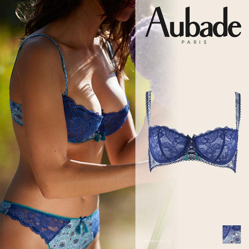 【30%オフ】フランス【Aubade】オーバドゥOMBRE PERSANEウンブペルソンハーフカップブラ AZULEJOSカラー(HX14)