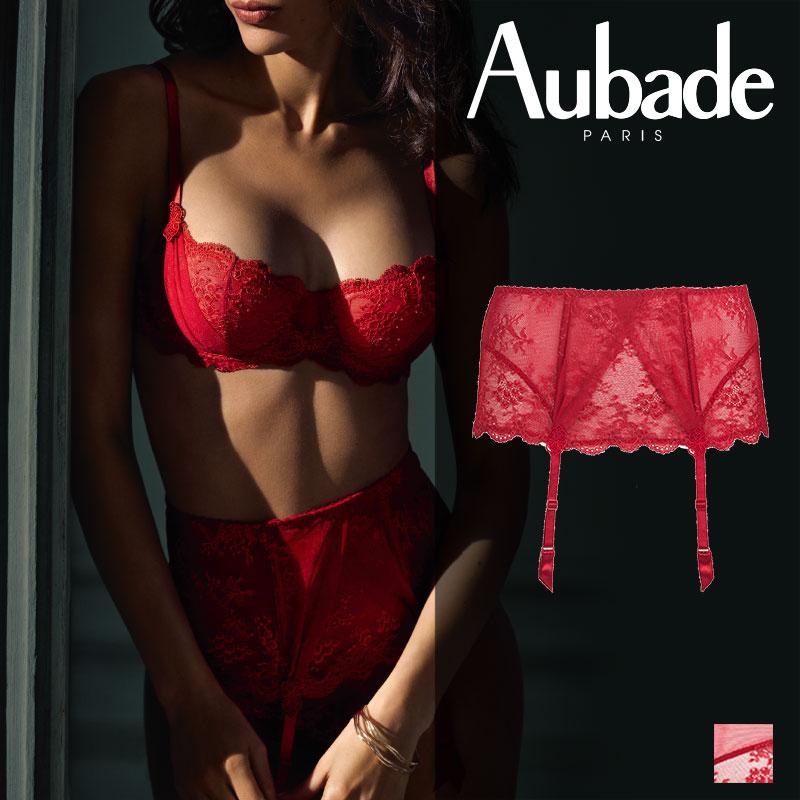 新作登場!フランス【Aubade】オーバドゥDA AUBADE A L'AMOUR ガーターベルト Rouge Darlingカラー(DA52)