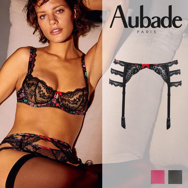新作登場!フランス【Aubade】オーバドゥNA Delicate Extase ガーターベルト Noir Magie カラー (NA50)