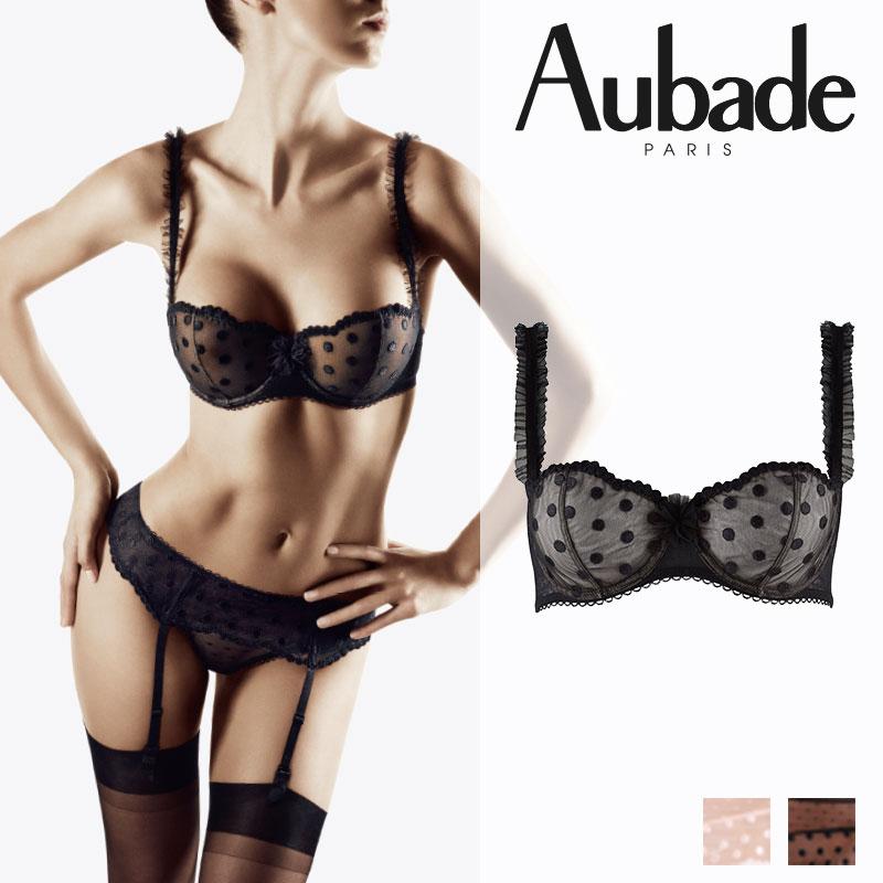 【30%オフ】フランス【Aubade】オーバドゥEXTRAIT DE FLIRTエクストレドゥフル―ハーフカップブラ Noirカラー(FF14)