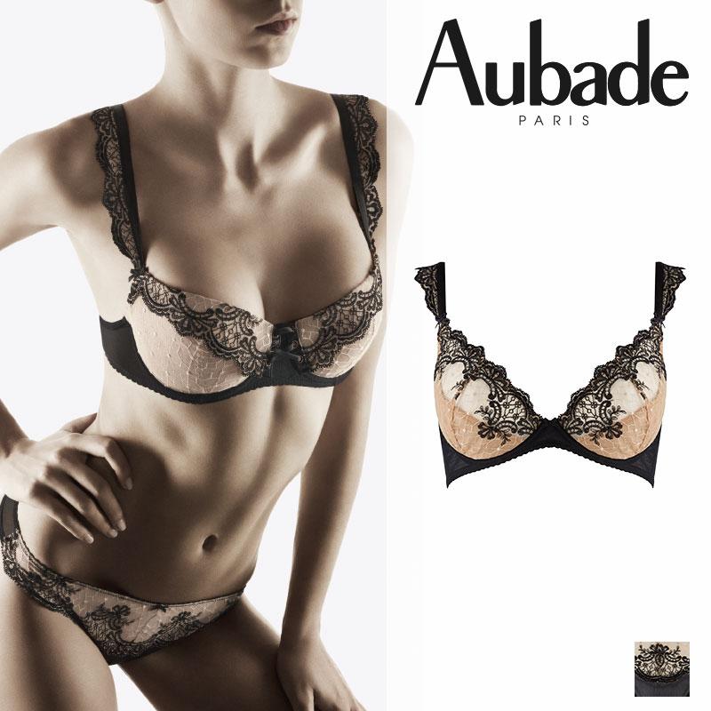【50%オフ】フランス【Aubade】オーバドゥPASSION NOCTURNENOIR CHARNEL(ブラック)ディーププランジブラ(FH88)