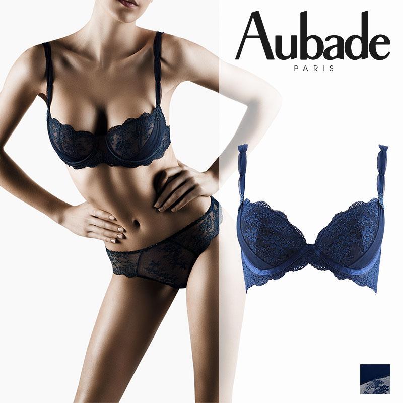 【30%オフ】SALE!フランス【Aubade】オーバドゥAubade A Lamour(オーバドゥ アラムール)ダブルパデッドブラ Bleu Nuitカラー(DA18)