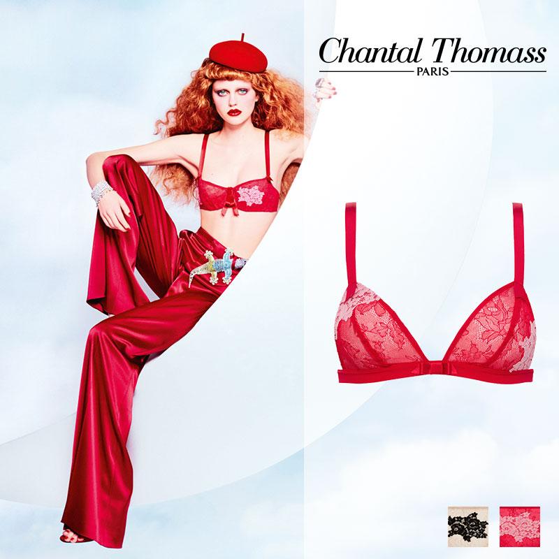 【50%オフ!】フランス【ChantalThomass】シャンタルトーマスTombeuseトライアングルブラRed Pinkカラー(T06230)