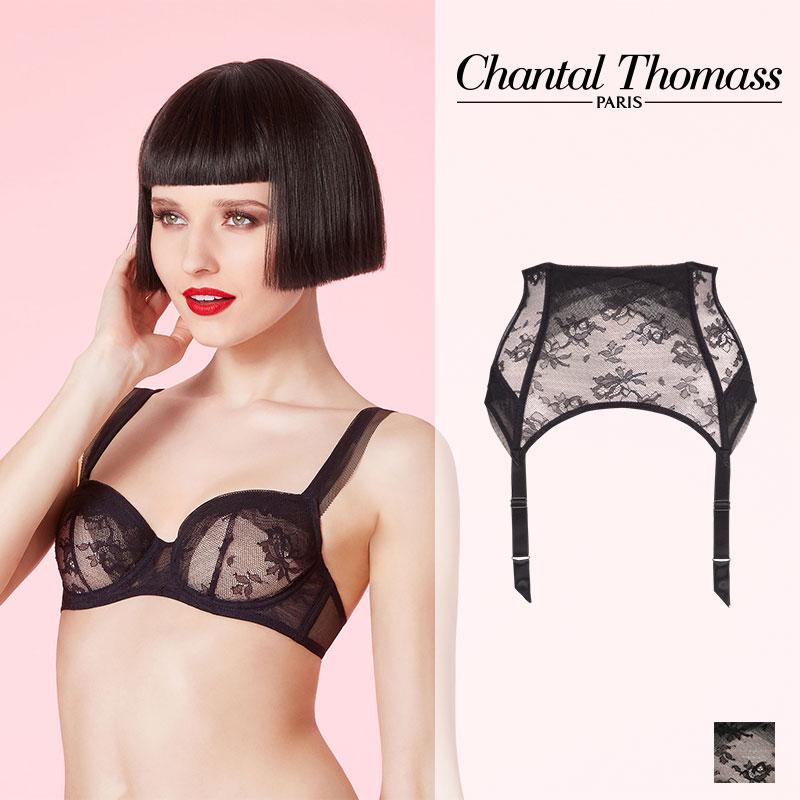 フランス【ChantalThomass】シャンタルトーマスEnce's moi Dentelle & Resille Black/Naturelカラーガーターベルト