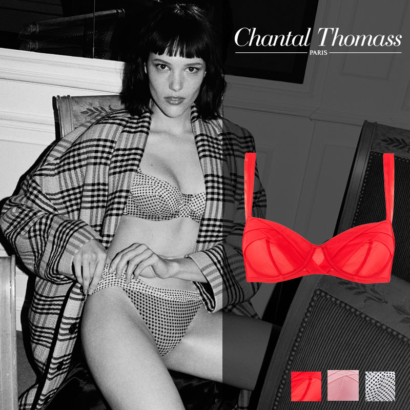 【新作】フランス【ChantalThomass】シャンタルトーマスEncens' moi ワイヤーブラ redカラー(T00410 )