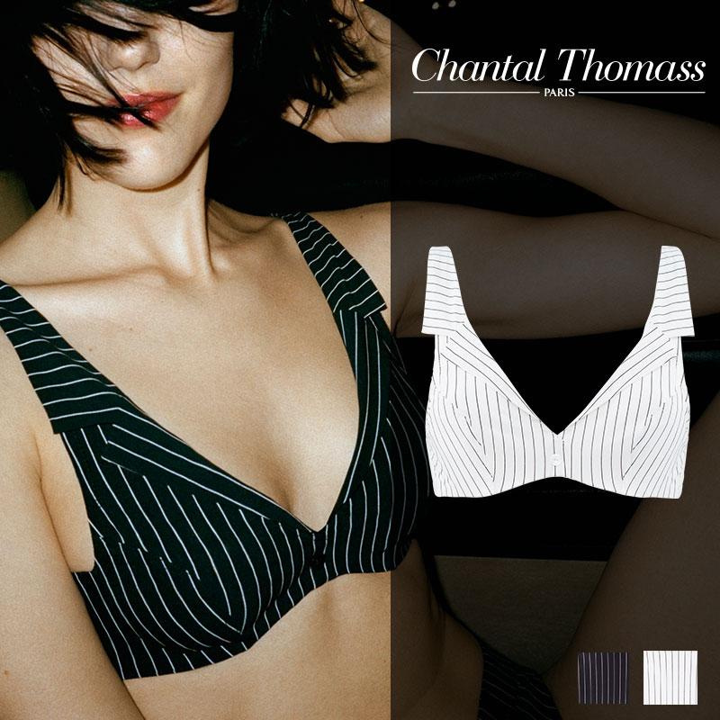 【新作】フランス【ChantalThomass】シャンタルトーマスGalanterie ワイヤーブラ Ivory chalk stripesカラー(T06A10)