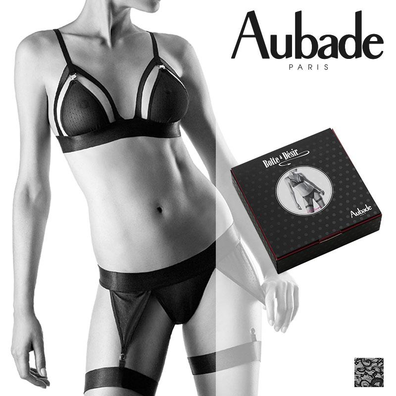 フランス【Aubade】オーバドゥBOITE A DESIRセダクションセット Noirカラー(P080B)ギフトボックス入り