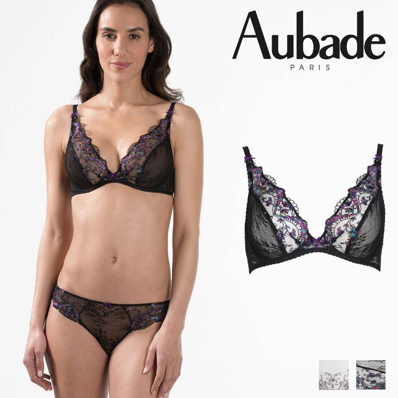 【50%オフ】【Aubade】オーバドゥFemme Romantique(フェム ロモティク)トライアングルプランジブラ(MB12)Noir Venusカラー
