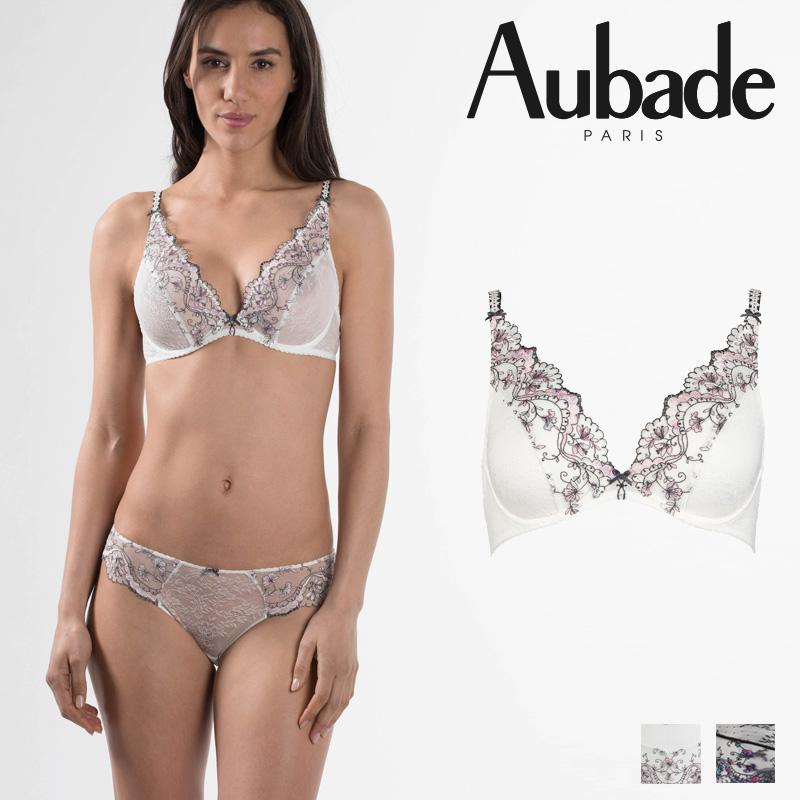 【50%オフ】【Aubade】オーバドゥFemme Romantique(フェム ロモティク)トライアングルプランジブラEカップ(MB12e)Prim Roseカラー