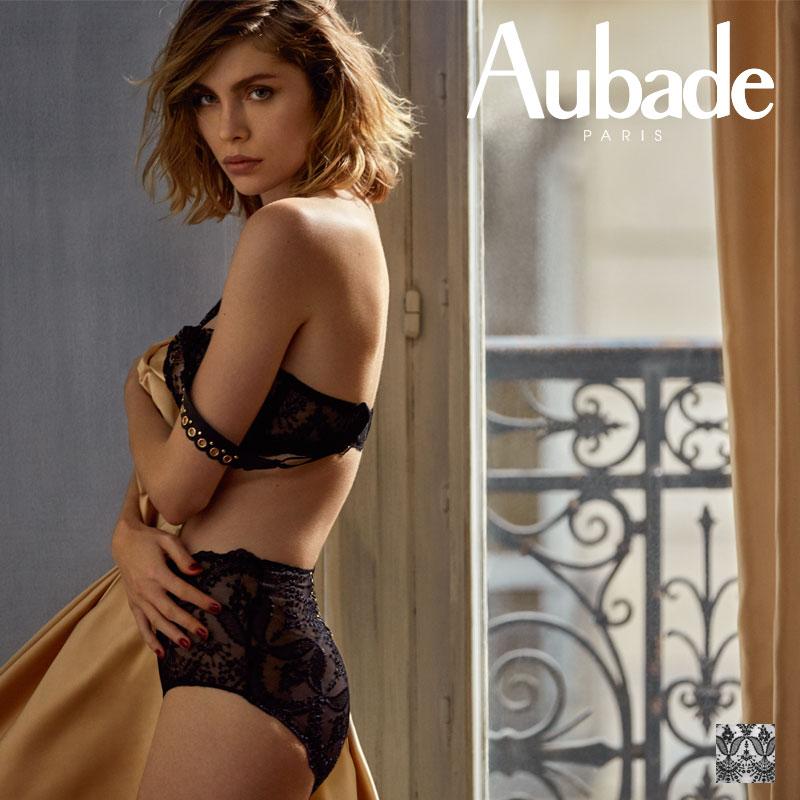 【30%オフ】【Aubade】オーバドゥME FEMME SENSUELLE ハイウェストショーツ Blackカラー(ME24)