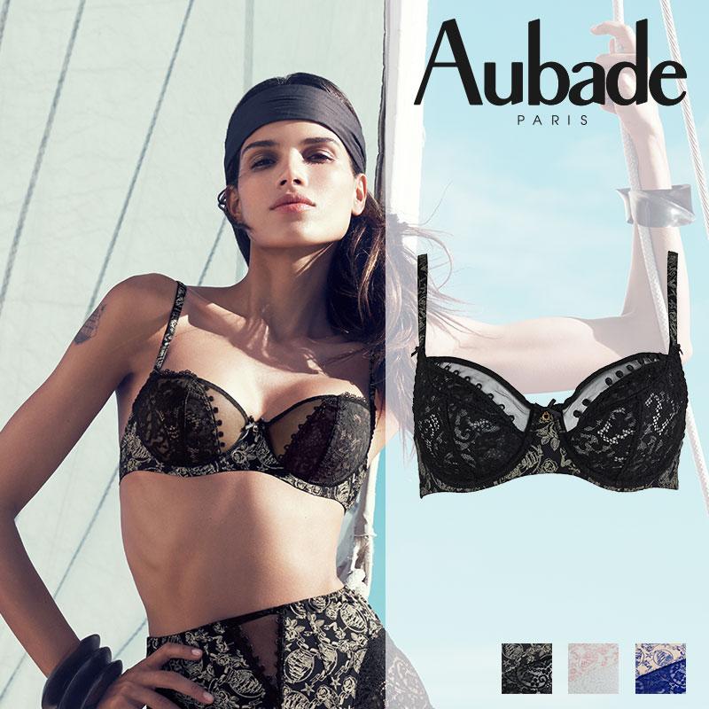 【50%オフ!】SALE!SALE!フランス【Aubade】オーバドゥLa Belle Corsaire 3/4カップブラ Black Pearlカラー(ブラックパール)