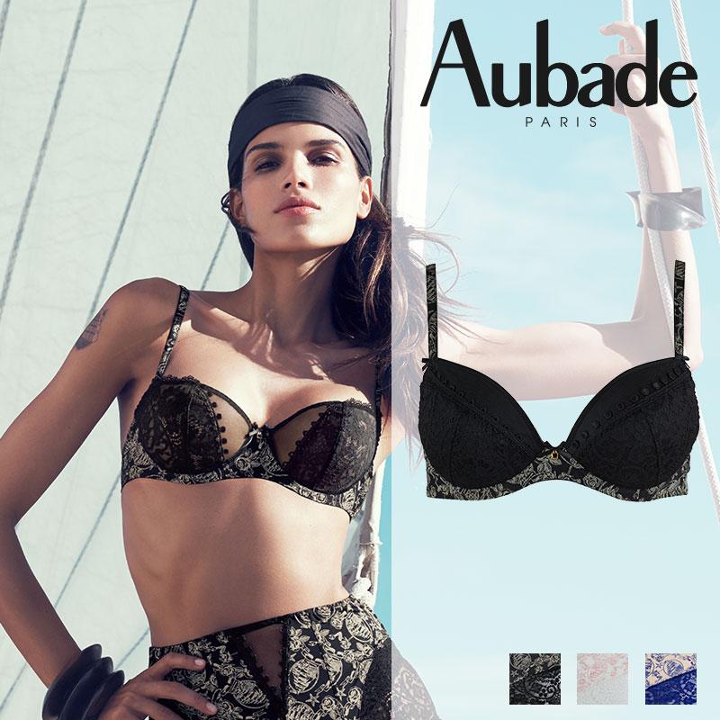 【50%オフ!】SALE!特別価格!SALE!フランス【Aubade】オーバドゥLa Belle Corsaire ダブルパデッドブラ Black Pearlカラー(ブラックパール)