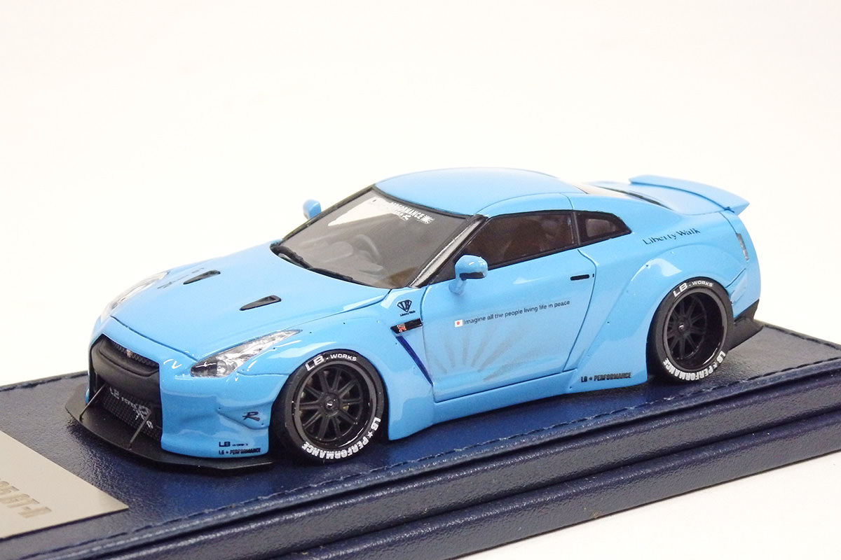 Resin Cast Minicar RESIN CAST CAR MODEL 1 / 43 Liberty Walk (liberty Walk)  LB WORKS R35 Gt R (R35 Gt R Works LB) Car Model Super Pearl Light Blue  10P05Sep15