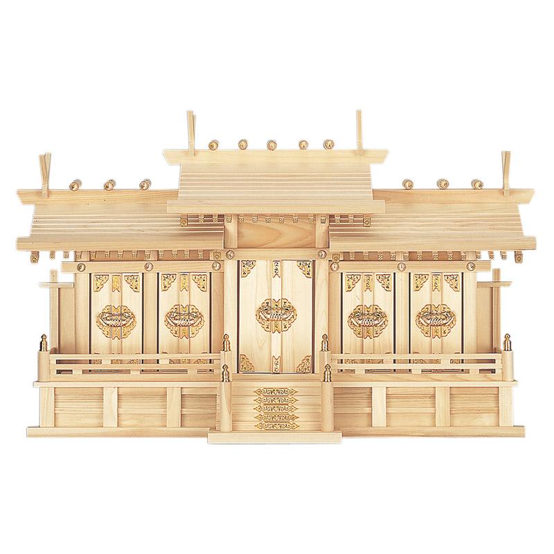 最新号掲載アイテム 伊勢神宮のお札と氏神様のお札さらに崇敬する神社のお札をそれぞれ納める五社神棚です 上等 高級ひのきとして知られる東濃ひのき製です 高級神棚 屋根違い五社 東濃ひのき製 中