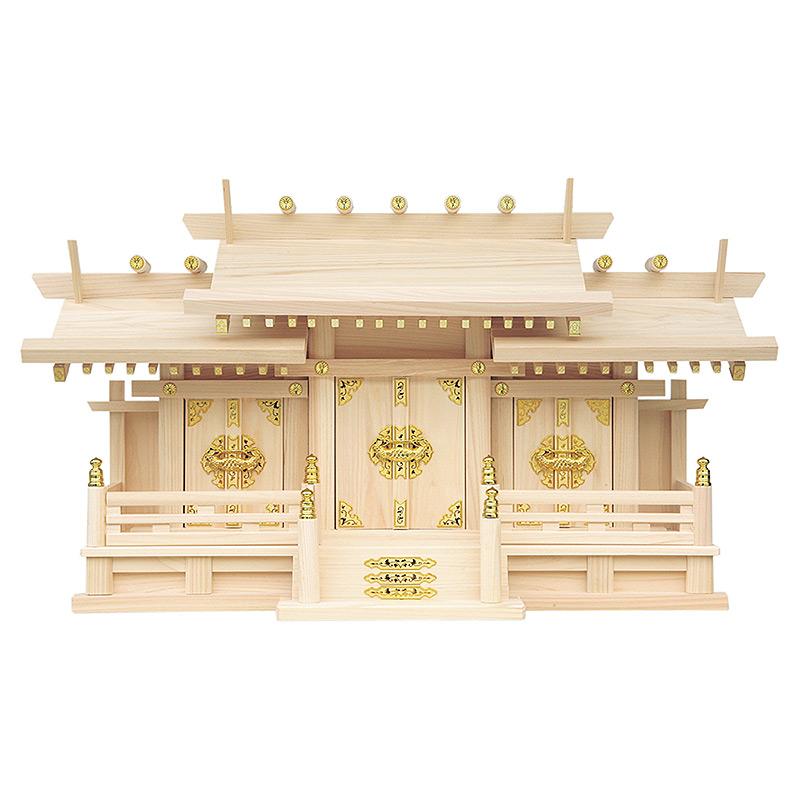 神棚 三社 高級神棚 新寸屋根違い三社・中(東濃ひのき製)