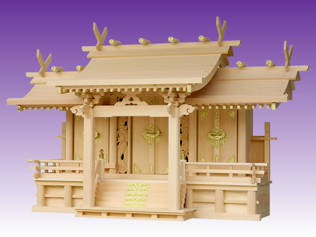 高級神棚 竜付平安三社(木曽ひのき製)