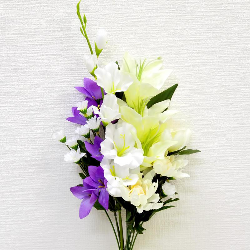 お墓や大きめのお仏壇に供える造花 シルクフラワー の仏花です 造花 お供え 仏花 仏壇用 条件付値引き有り 新色 中 墓前用 引出物 お墓用 白アレンジ 1束