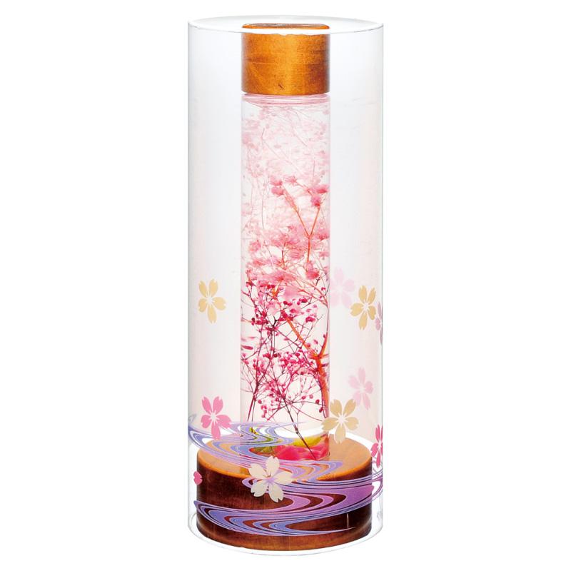 盆提灯 ルミナス灯 プリザーブドフラワー やすらぎの灯り1号(ロング) 桜 No.131