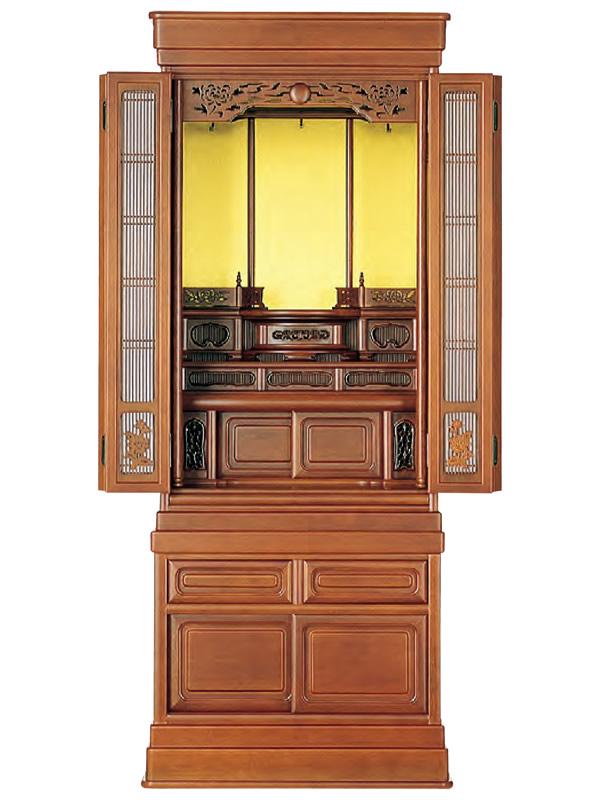 唐木仏壇(台付き) 志輪47号クルミ調(高さ:142.3cm 幅:57.5cm)
