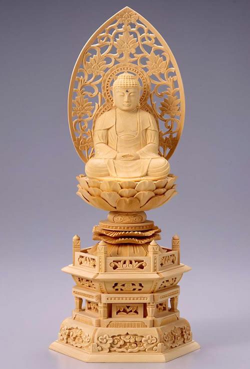 仏像 釈迦如来 座釈迦 2.5寸 桧製 六角座【適合宗派:臨済宗、曹洞宗、天台宗、日蓮宗等】