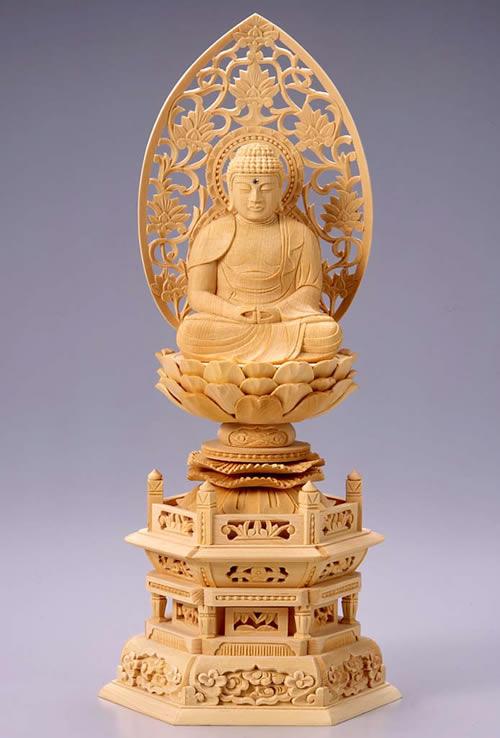 仏像 阿弥陀如来 座弥陀 3.0寸 桧製 六角座【適合宗派:天台宗、浄土宗、時宗等】