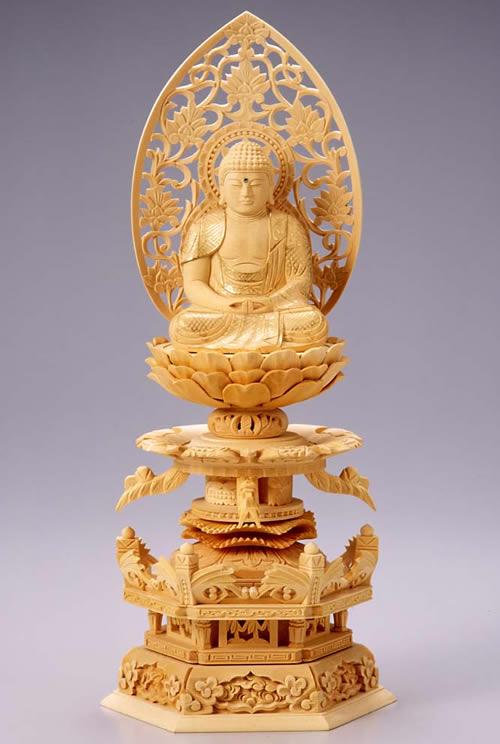 仏像 阿弥陀如来 座弥陀 3.5寸 桧製 ケマン座【適合宗派:天台宗、浄土宗、時宗等】