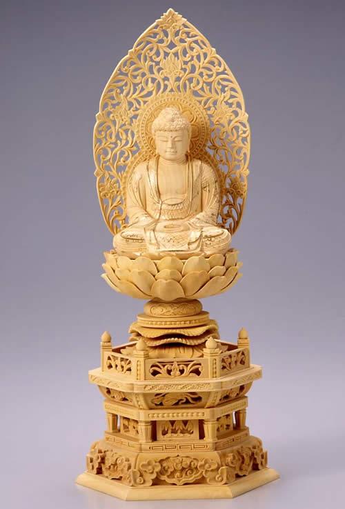 仏像 釈迦如来 座釈迦 2.0寸 柘植製 六角座【適合宗派:臨済宗、曹洞宗、天台宗、日蓮宗等】